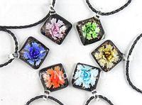 Free-Shipping ,Multi-colurs Square   Mixed Colour  Murano  square pendant  necklace Glasss  pendant  Necklace 6pcs/lot  BS036