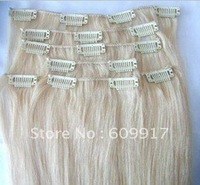 100% human remy hair blonde straight clip in hair extension with high quality