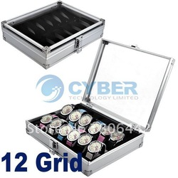 Free Shipping New Popular 12 Grid Watches Display Storage Box Case Jewelry Aluminium Square(China (Mainland))
