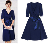 11 autumn and winter star slim waist V-neck milk, silk plus size half sleeve blue one-piece dress