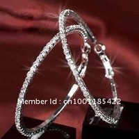 Free shipping   crystal drilling big circle full earrings