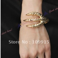Vintage Antiqued Design Punk Style Eagle Claw Cuff Bracelet Bangle Gold  (LKS019J)