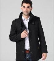 Men wool coat winter autumn jacket woolen big size trench coat XXXXL size for man outwear clothes Black color