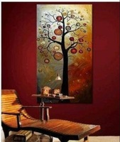 Free Shipping hand-painted The Money rich tree sun High Q. Home Decoration Modern Landscape Oil Painting on canvas DY-011