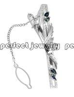 Free shipping Tie clip Perfect Jewelry Natural sapphire tie clips, natural and real sapphire,925 silver  tie clip,AL#702