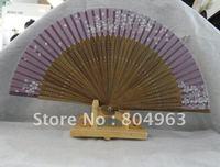 [China Confucian ] free shipping of 2012 hote sale silk  hand fans in high quality,silk fan,folding silk fan,woman silk fan