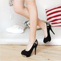New Black Platform Sexy Women's Faux Suede High Heels Pumps US Size:5-8.5 DS032