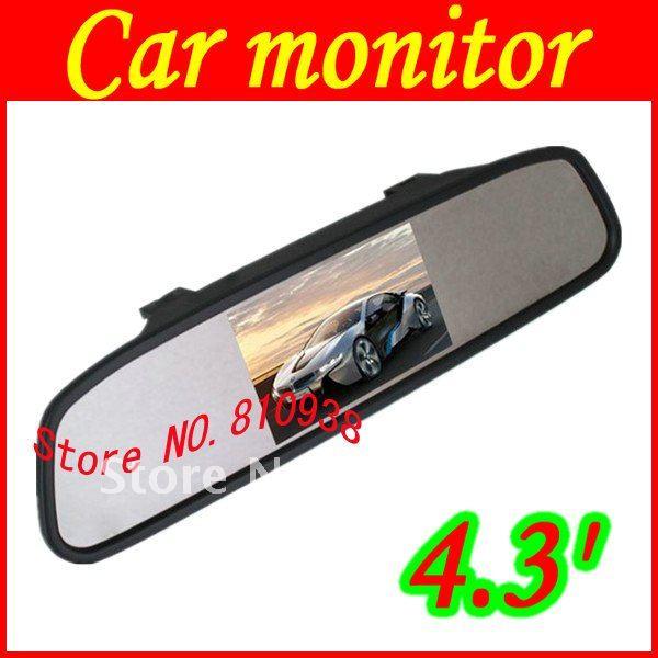 "Cheap sale Car 4.3"" rear view clip-on Mirror Monitor free shipping(China (Mainland))"