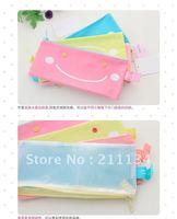 Free Shipping!! 24 Pcs Hot Cartoon smile PVC Pencil Pen Bag Pen Pouch Bag  Pencil  Case