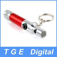 Free Shipping! New 3 in 1 compass whistle camping LED light key ring
