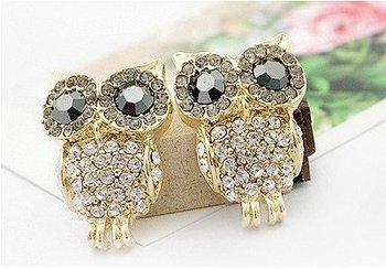 Free shipping New Arrival Women's Full Rhinestone Jewelry Alloy Owl Crystal Stud Earrings E6