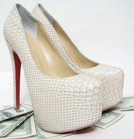 160mm daffodile beige Snakeskin lines platforms pumps womens shoes(lady gaga)