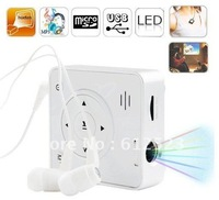 Mini projector MP3 projector Music projector video projector with Notebook/PC screen through USB cable or micro SD card