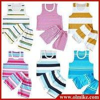 10pcs / lot wholesale free shipping boy's girl children cotton stripes vest pants set kids pajamas infants young color randomly