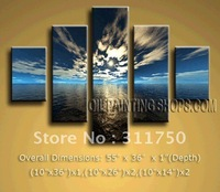 hand-painted Free Shipping Fine Art Oil Painting Contemporary Canvas Wall Art Seascape Ocean Sunset Blue 5pcs/set
