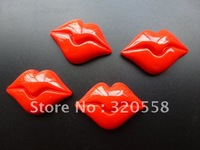 "1"" Big Red sexy  Lip FlatBack Resins Scrapbooking Embellishment 50pcs Free Shipping"
