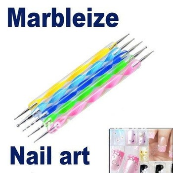 Free shipping D19050SL 5pcs/set 2way Nail Polish Art Dotting Marbleizing Pen Tools be used on Natural nails