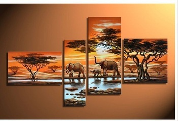 hand-painted wall art Grassland elephants Decoration Modern Abstract landscape Oil Painting on canvas 4pcs/set DY-013