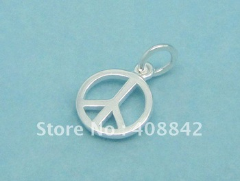 Min order $5 Free shipping 925 Sterling Silver 1.0cm Peace Symbol Charm Flight Chess Pendant PB50 Fit Bracelet Earrings Jewelry