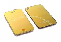Free shipping For iPhone 4g mirror gold Color LCD with touch screen assembly+ back cover+home button