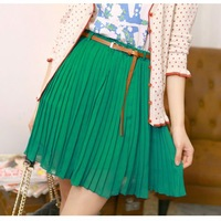 Sweet Girls Retro Pleated Bust Skirt Chiffon Mini 01 Green