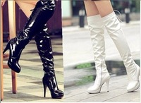 Women's Fashion Shoes Stretchy Fabric Faux Suede Platform Thin High Heel Round Toe Over Knee Boots