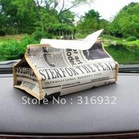 F4 Nostalgic newspaper tissue box, Free Shipping