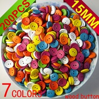 15MM 200PCS 7COLOR wood color cloth sewing button jewelry findings CRAFTS charms MCB-211