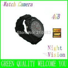 Free Shipping  4GB Card Watch DVR 1080P IR Night Vision black Consumer Electronics Camera & Photo Video Cameras