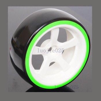 1020-5004 4PCS RC 1/10 1:10 Model Car On Road Drift Tyre Tires Wheel Rim & Hard