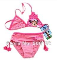 1 set kids cartoon bikini kids beachwear baby bikini girls pink swimsuit girl's beachwear kids wear swearsuits free shipping