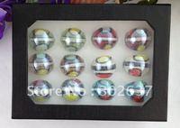 12PCS High Quality Multicolored Lampwork Polish Glass Rings #21771
