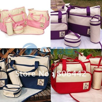 5PC Multi Function Super Large Baby Diaper Bag Mama Nappy Tote Shoulder Bag Four Color 3408