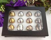 12PCS Fashion Cool Polish Copper Glass Rings #21806