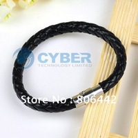 Fashion Leather and Stainless Steel Braided Bracelet Wristband Black Free Shipping