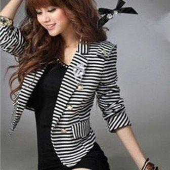 2015 new hot Fashion Cozy women clothes Shawl women Coat blouse  slim Wild suit Stripe With corsage blouses