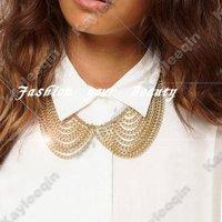 Free Shipping~~Woman Gold False Collar Neck Choker Bib Necklace Chunky Chain Rock Biker Punk N251