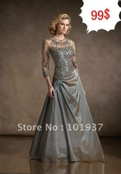 Free Shipping Best Selling Lace Beaded Mother of the Bride Dress Custom With Jacket JM71313(China (Mainland))