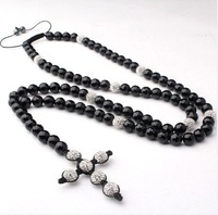 Free Shipping Free Shipping Shamballa Style Rosary Necklace Crystal and Black Onyx Beads