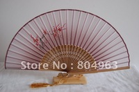 [China Confucian ] Free Shipping pink color silk hand fan+hand painted blossom silk fan, silk hand fan for gentleman&tassel