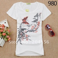 Free shipping mix designs fashion blouse cotton womens' shirt  ladies' t-shirt