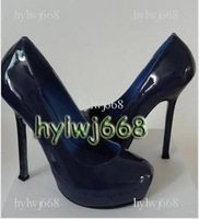 Newest style new Free shipping blue leather Women's high heel pumps shoes