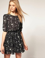 Chiffion star print women short dress 2013 summer new /1 piece Free shipping star dress/ FZ0751