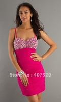2012 Hot Sales Sweetheart Spaghetti Straps Knee Length Custom Made A Line Beadings Homecoming Dress