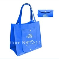 Wholesale !Customized  logo printing! Foldable non-woven bag with handle / tote bag with Hasp 80gsm fabric MOQ1000PCS