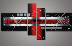 Free Shipping hand-painted wall art silver Red lines point home decoration abstract Landscape oil painting on canvas 4ps/st,DY25(China (Mainland))