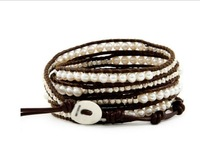 New Arrival vintage Style weaving leather wrap bracelet african jewelry pearl bead bracelet, Free Shipping CL95