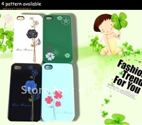 Чехол для для мобильных телефонов Ultra-thinTransparent Flower Pattern Plastic Hard Case Cover for iPhone 4S Transparent