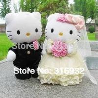 J1 Well Made 30cm  Wedding Couple Hello Kitty Stuffed Plush Toy toys wedding souvenirs, 1pair, Free shipping