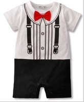 free shipping 1piece /lot cotton Children Kids Summer cotton gentleman red bow tie shape Romper